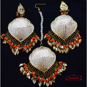 Set of Tikka & Earrings with Orange Moti J0576