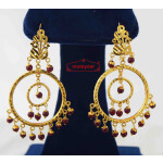 Ruby Beads Golden Jhumki Earrings J0583
