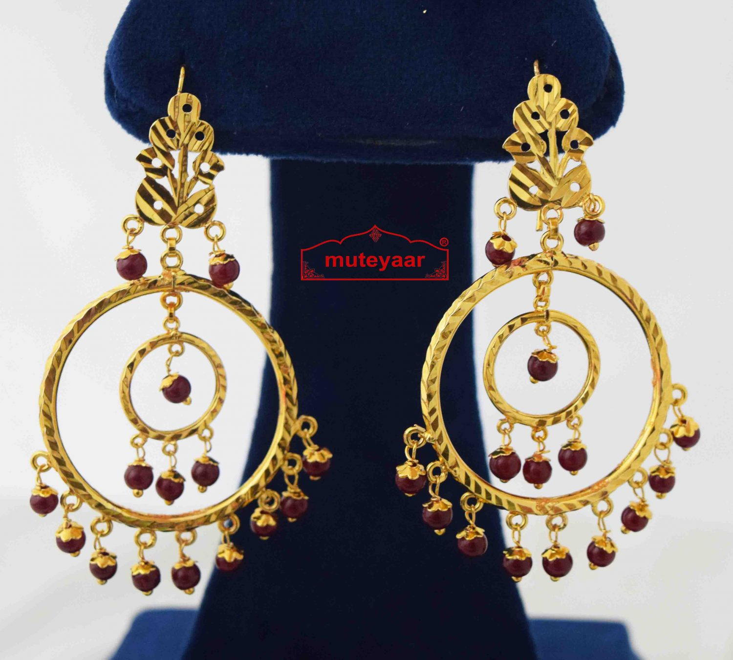 Ruby Beads Golden Jhumki Earrings J0583 1