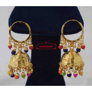 Lotan Jhumki with Multicolour Beads J0584