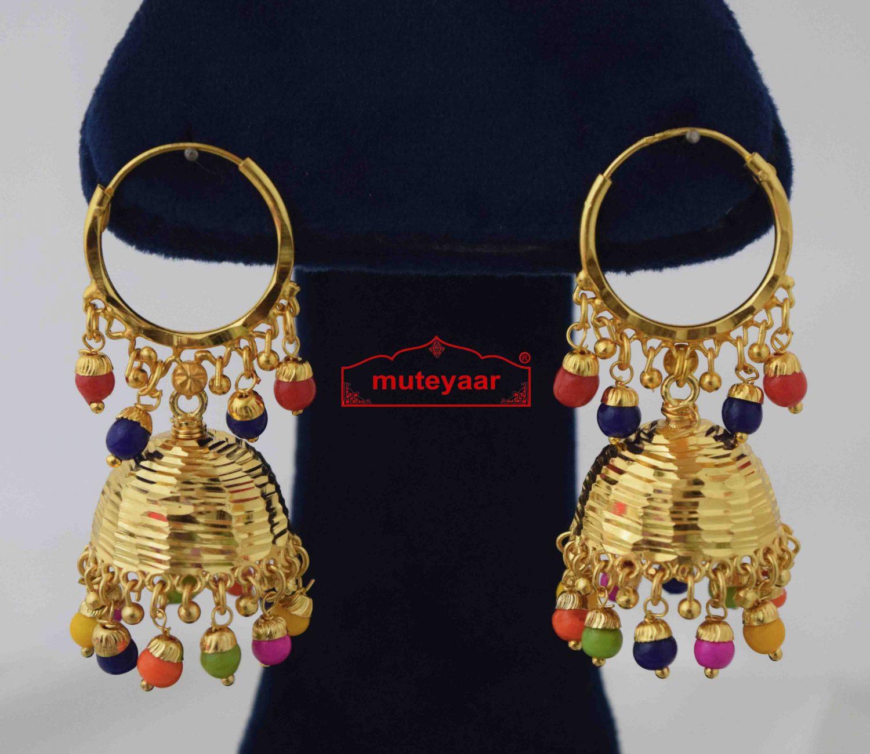 Lotan Jhumki with Multicolour Beads J0584 1
