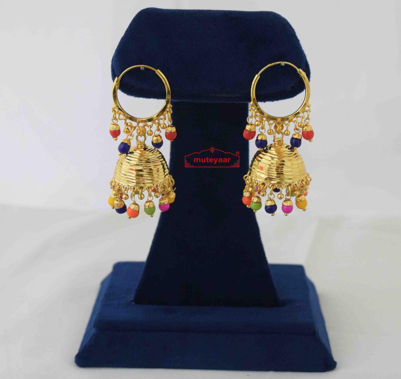 Lotan Jhumki with Multicolour Beads J0584 2
