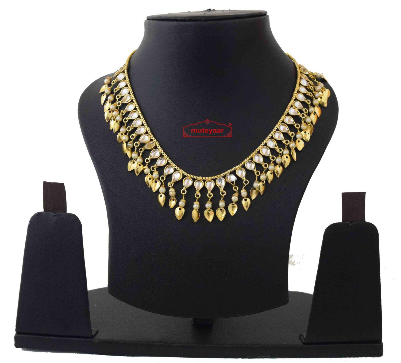 Kundan Chain with White Beads J0590 1