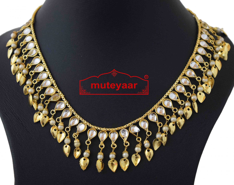 Kundan Chain with White Beads J0590 2