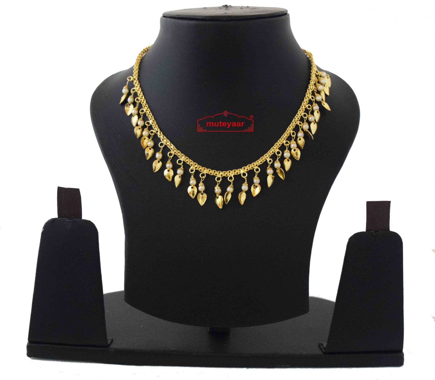 Chain with White Beads & Golden Leaves J0591 1