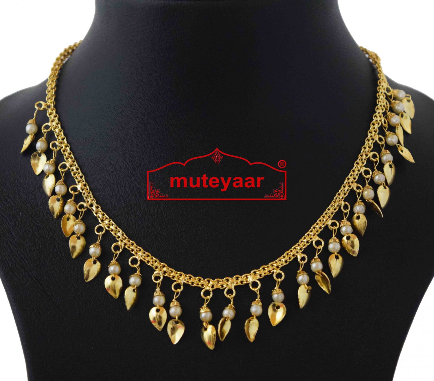 Chain with White Beads & Golden Leaves J0591 2