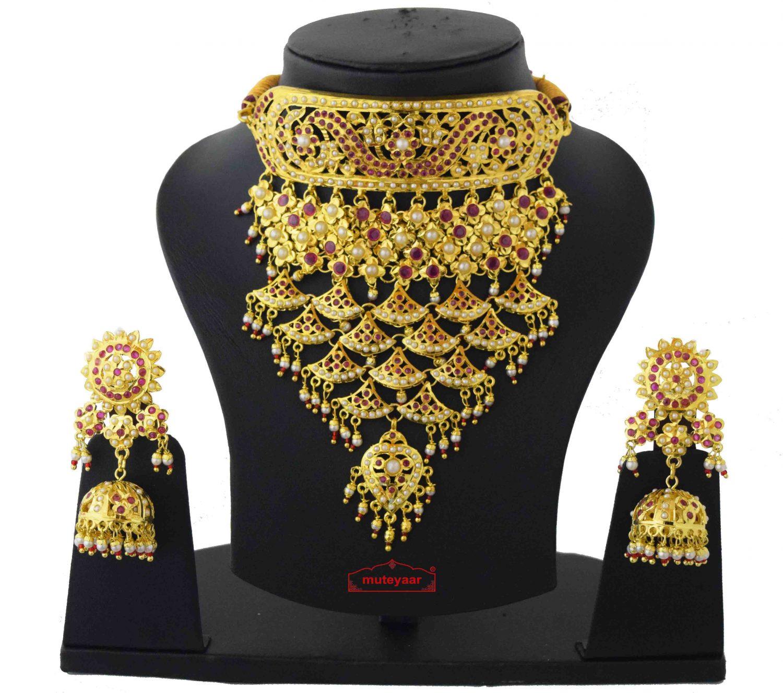 Rajasthani Rajputi Set Gold Plated Jadau Jewellery J4038 1