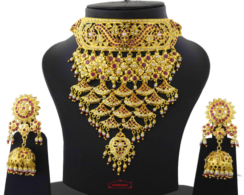 Rajasthani Rajputi Set Gold Plated Jadau Jewellery J4038 2