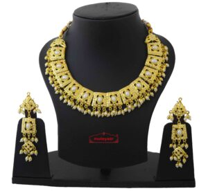 Gold Plated Jadau Collar Set J4049
