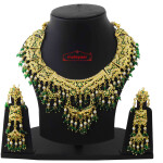 Green White Jadau Collar Set J4050