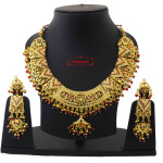 Ruby Red Jadau Collar Set J4051