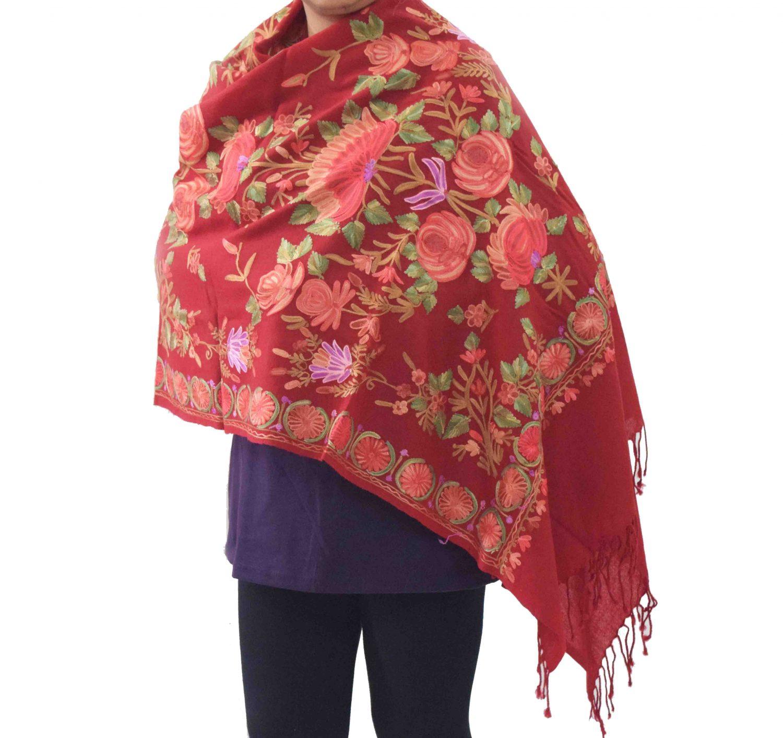 Maroon Kashmiri Stole Woollen Wrap C0488 2