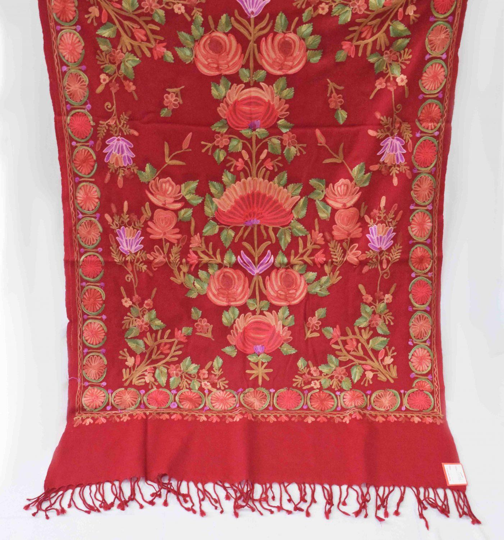 Maroon Kashmiri Stole Woollen Wrap C0488 3