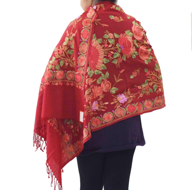 Maroon Kashmiri Stole Woollen Wrap C0488 1