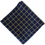 Navy Blue Check Design Suit Glazed Cotton Cutpiece CJ031