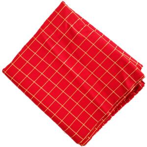 Red Check Design Suit Glazed Cotton Cutpiece CJ032
