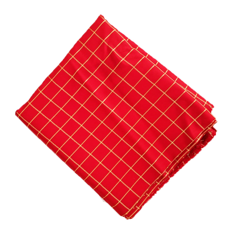 Red Check Design Suit Glazed Cotton Cutpiece CJ032 1