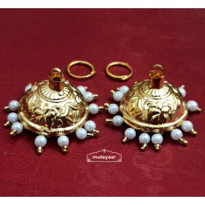 Golden Lotan Jhumki with Bali Earrings