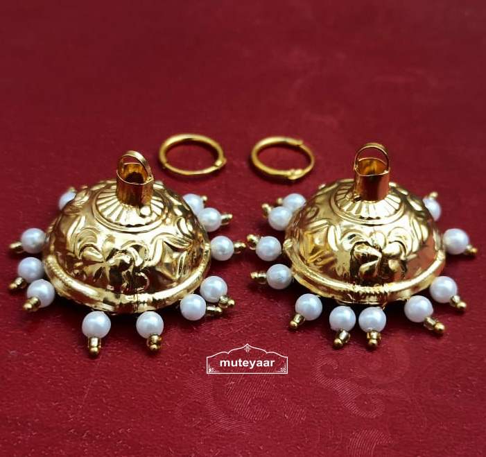 Golden Lotan Jhumki with Bali Earrings 1