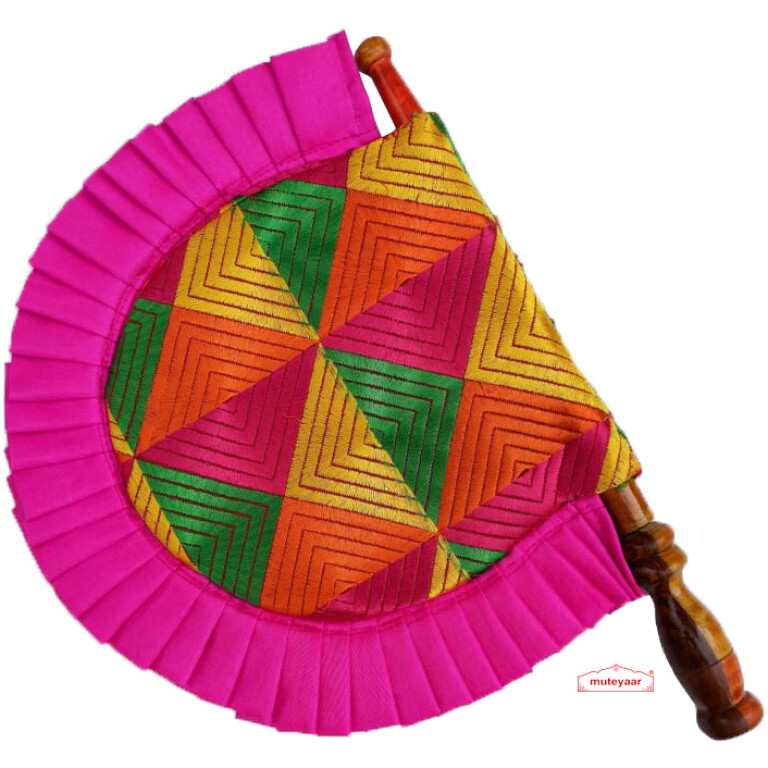 magenta frill phulkari pakhi T0271