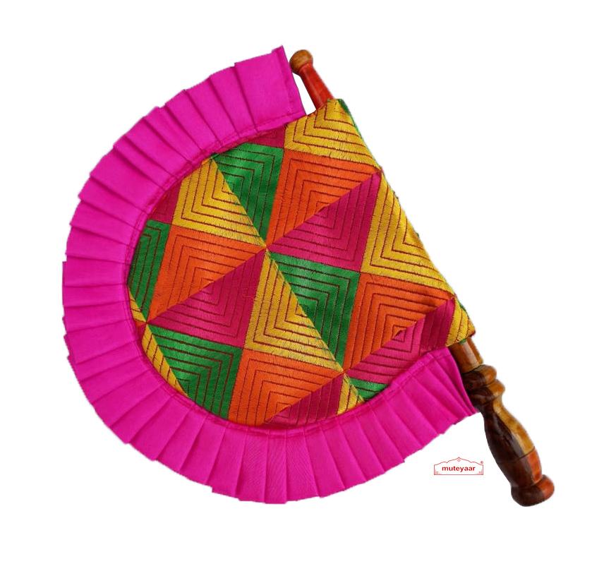 Magenta Frill Phulkari Pakhi Hand Fan T0271 1