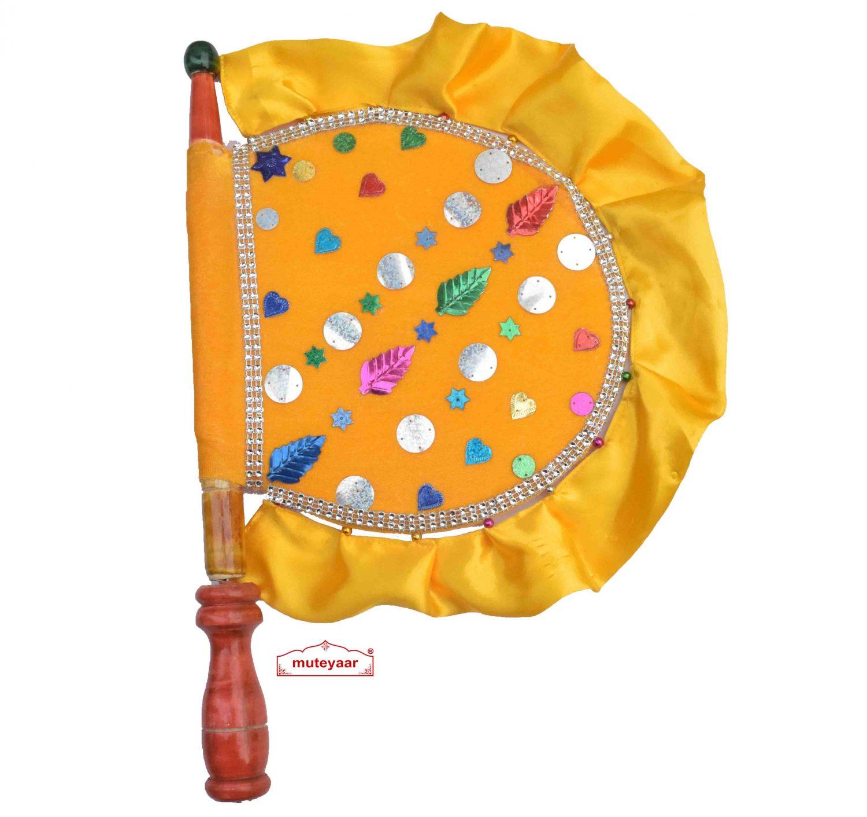 Yellow Punjabi Pakhi Hand Fan T0275 1