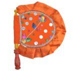 Orange Punjabi Hand Fan Pakhi T0276