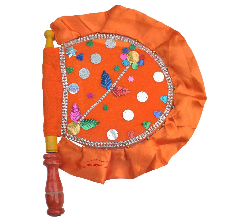 Orange Punjabi Hand Fan Pakhi T0276 1