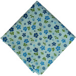 Light Blue Floral Printed Cotton Fabric PC557