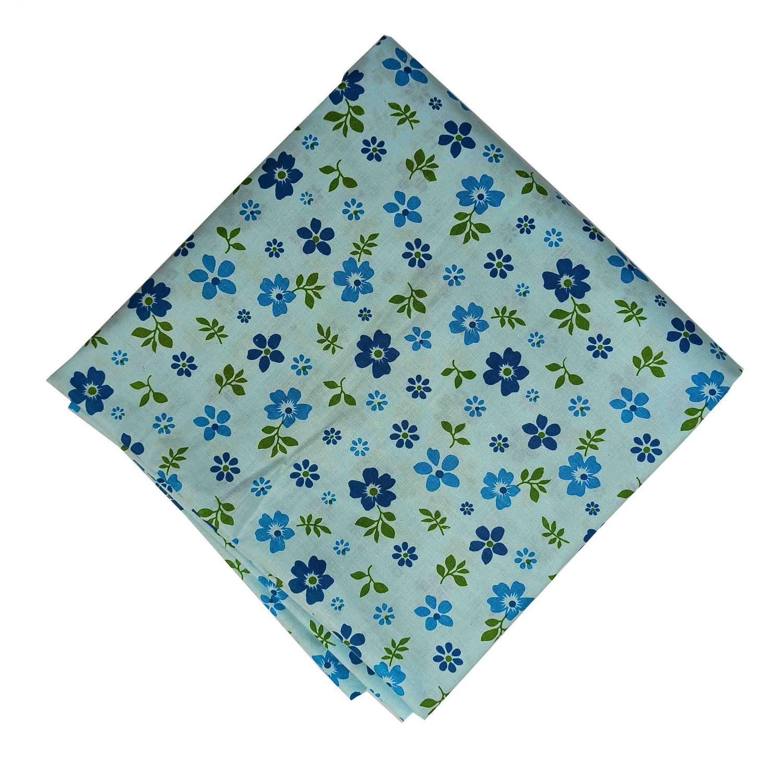 Light Blue Floral Printed Cotton Fabric PC557 1