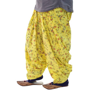 Yellow Printed Semi Patiala Salwar 3MPS05