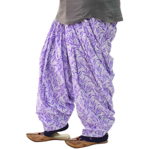 Purple Leaves Printed Semi Patiala Salwar 3MPS06