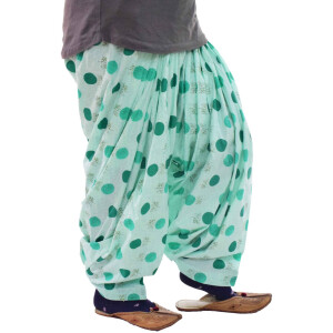 Green Polka Printed Semi Patiala Salwar 3MPS08