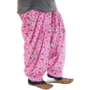 Pink Floral Print Semi Patiala Salwar 3MPS10