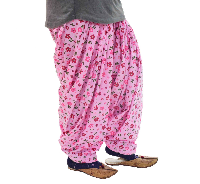 Pink Floral Print Semi Patiala Salwar 3MPS10 1