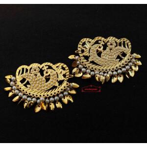 Big Jadau Hair Pins Traditional Punjabi Golden Hair Clips J0600