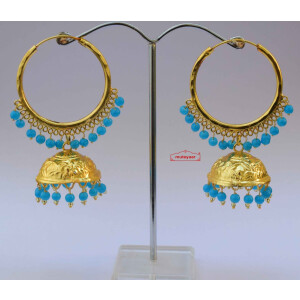 Lotan Bali with Firozi Beads Punjabi Traditional Earrings J0601