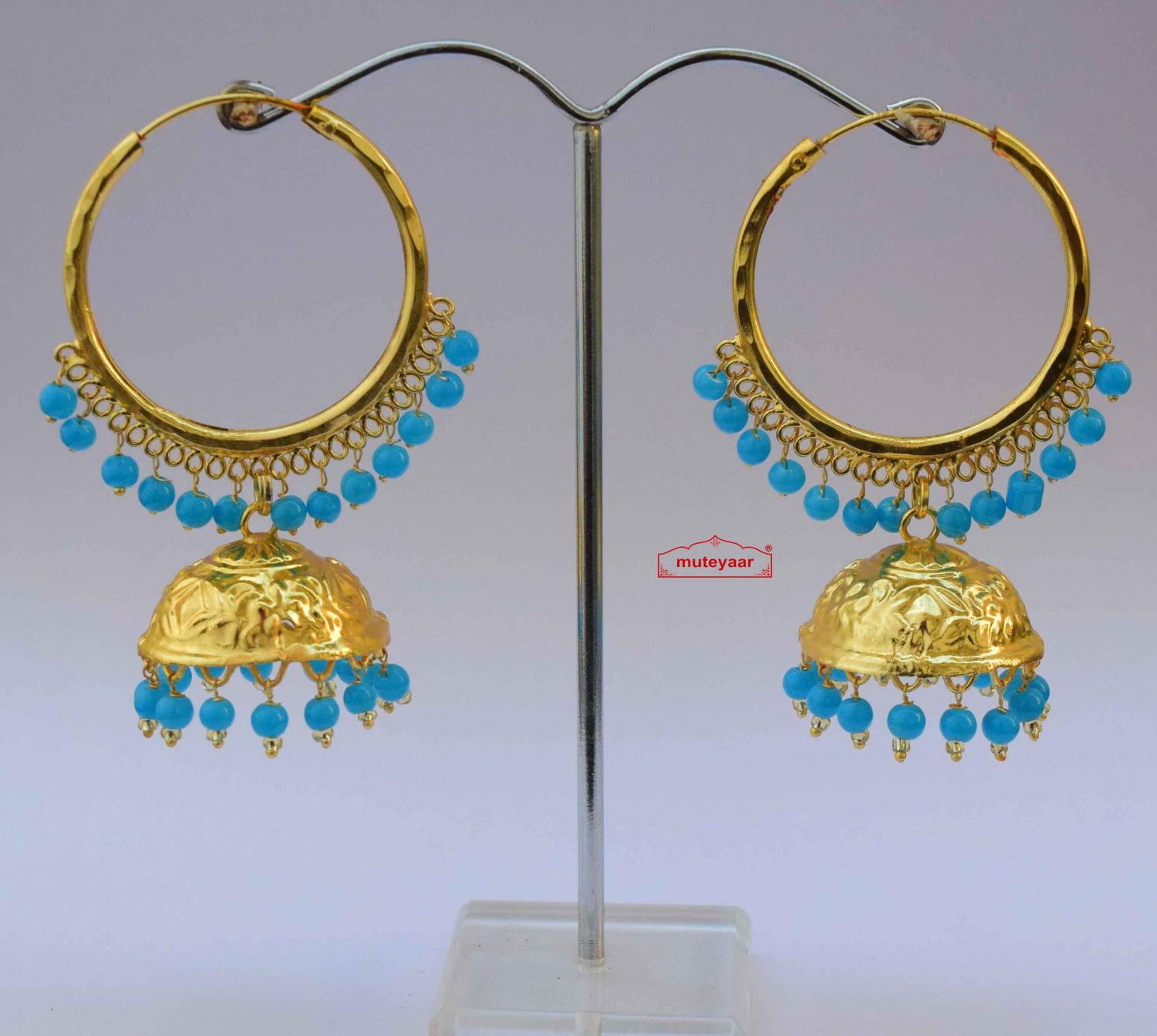 Lotan Bali with Firozi Beads Punjabi Traditional Earrings J0601 1