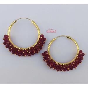 Guchha Bali Earrings with Maroon Beads J0604