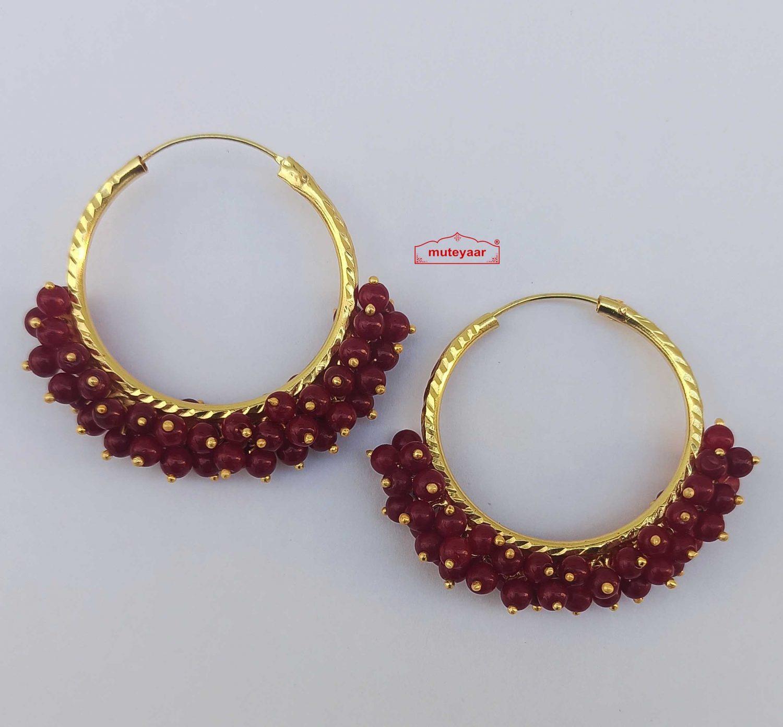 Guchha Bali Earrings with Maroon Beads J0604 1