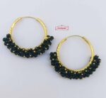 Guchha Bali Earrings with Green Beads J0605