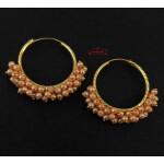 Guchha Bali Earrings with Peach Beads J0606