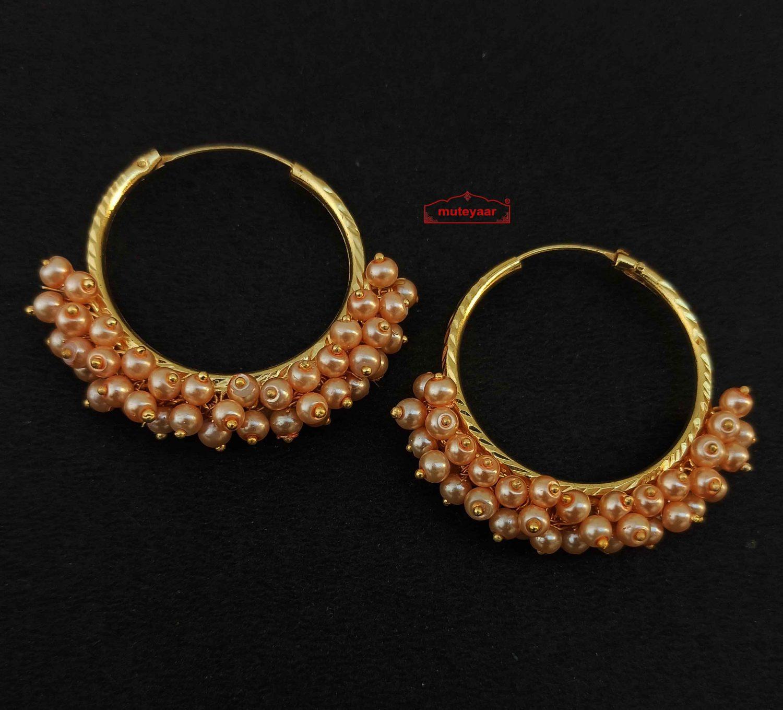 Guchha Bali Earrings with Peach Beads J0606 1
