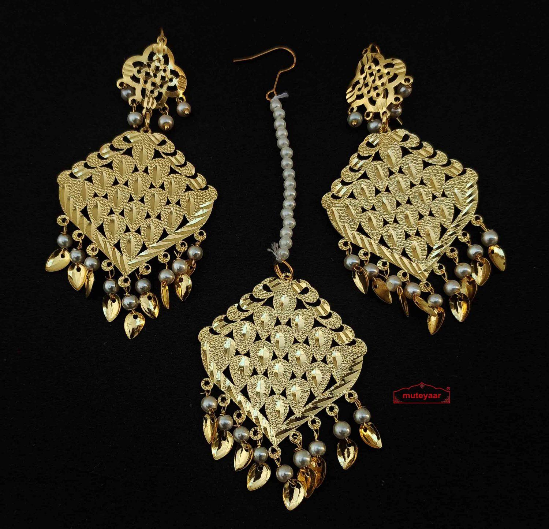 Golden Tikka Earring Set J0607 1