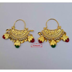 Cutwork Bucket Dakh Bali Earrings J0611