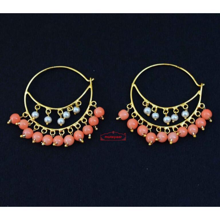 Punjabi Bali earrings with Peach Moti J0613