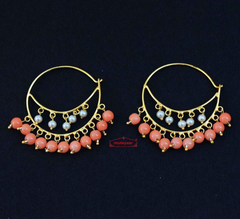 Punjabi Bali Earrings with Peach Moti J0613 1