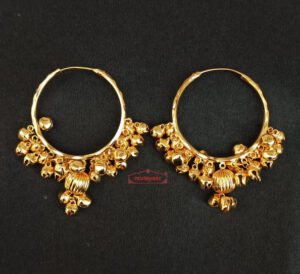 Real Gold Plated Ghungroo Bali Earrings J0614