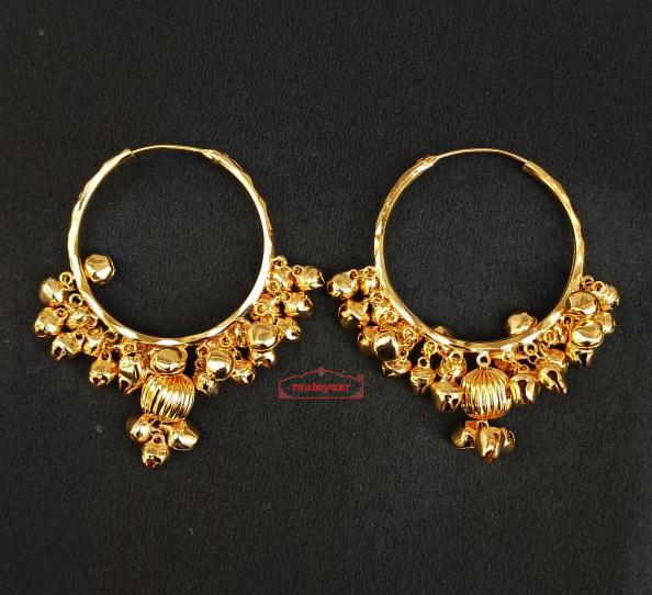 Real Gold Plated Ghungroo Bali Earrings J0614 1