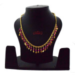 Chain with magenta Beads & Golden Leaves J0618